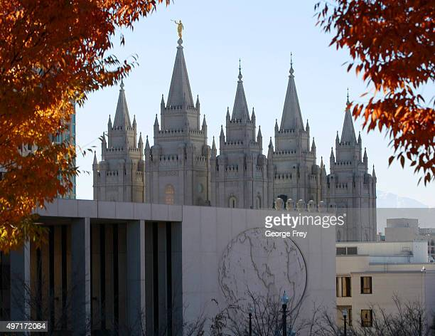 The Mormon Churches historic Salt Lake temple and the world headquarters of the church is seen from City Creek Park where a mass resignation from the...