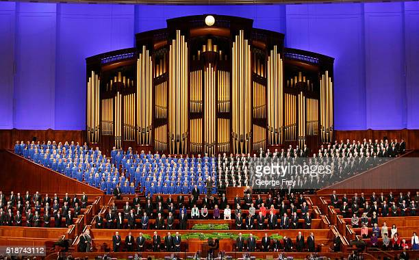 The Mormon Tabernacle Choir and church leaders sing together in the Conference Center during the 186th Annual General Conference of the Church of...