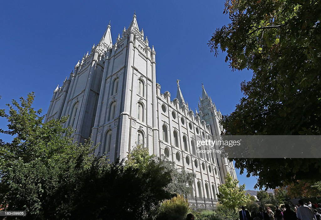 The Mormon temple is shown here on Temple Square during the 183rd Semi-Annual General Conference of the Church of Jesus Christ of Latter-Day Saints in Salt Lake City, Utah on October 6, 2013.