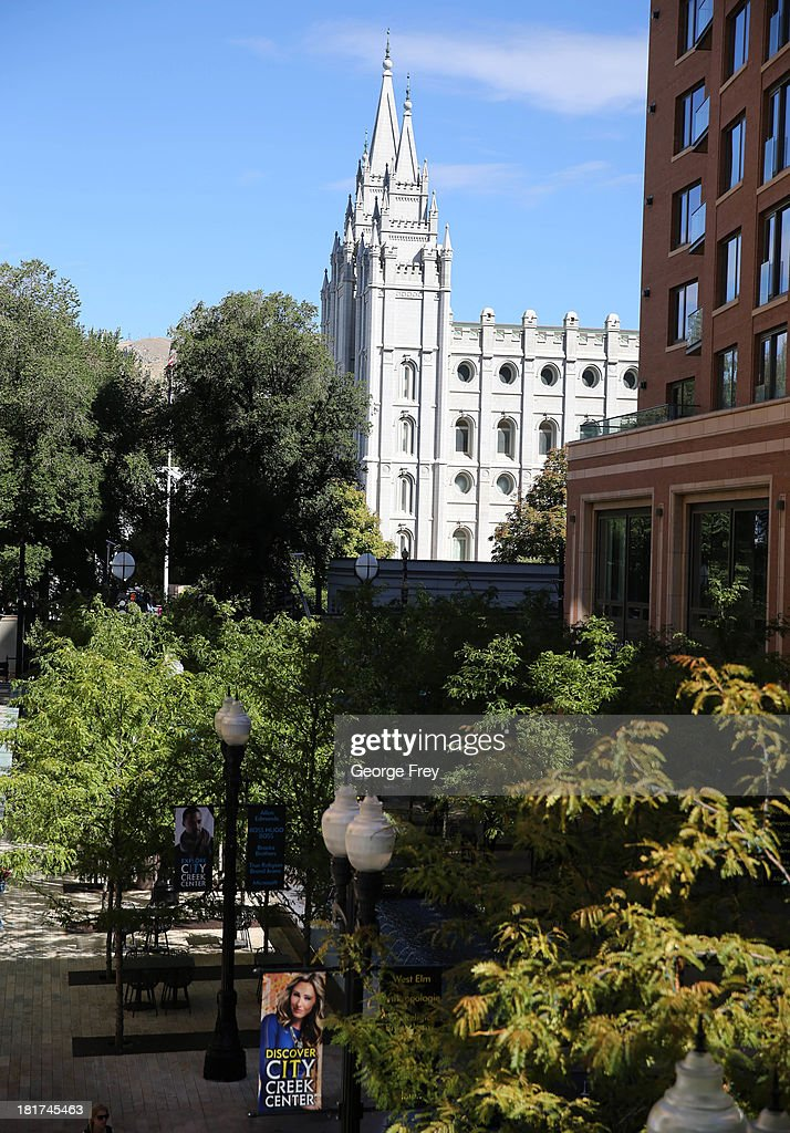The Mormon temple stands just outside the City Creek Center shopping mall September 24, 2013 in Salt Lake City, Utah. Jack Harry Stiles was arrested on charges of treating terrorism after he informed mental health officials that he was planning on committing mass shootings at the City Creek Center Mall and other locations around Salt Lake City on September 25, 2013.
