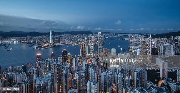 The morning blue of splendid Asian city, Hong Kong
