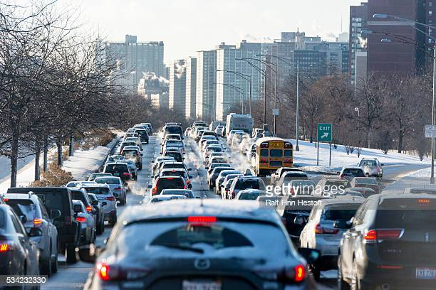The morning commute on Lake Shore Drive in the cold and snow in Chicago IL