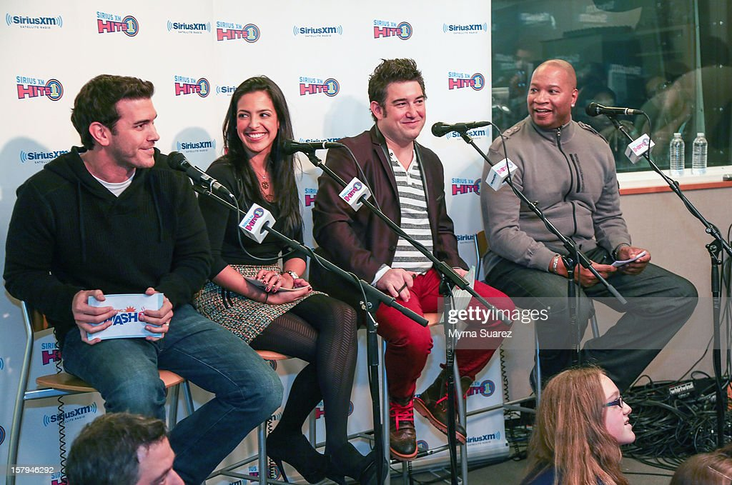 The Morning Mash Up's Rich Davis, Nicole Biggins, Ryan Sampson and Stanley T. Evans attend One Direction performance at SiriusXM's 'Artist Confidential' Series at SiriusXM Studios on December 7, 2012 in New York City.