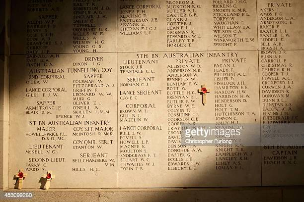The morning sun falls on the names of missing soldiers at the Menin Gate Memorial to the Missing on August 2 2014 in Ypres Belgium Monday 4th August...