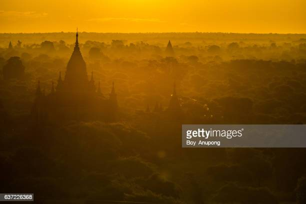 The morning sunrise over Bagan plains the land of pagoda in Myanmar.
