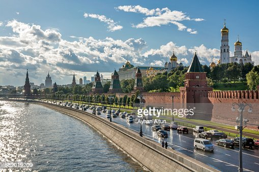The Moscow Kremlin after the rain in Moscow