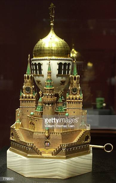The Moscow Kremlin Imperial Easter Egg part of the Faberge Collection sits on display at the First USA Riverfront Arts Center September 14 in...