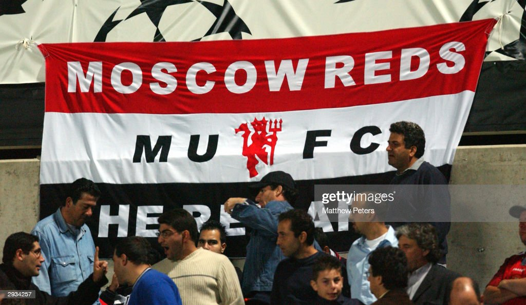 The Moscow Reds banner flying during the UEFA Champions League match between Maccabi Haifa v Manchester United at the GSP Stadium on October 29 2002...