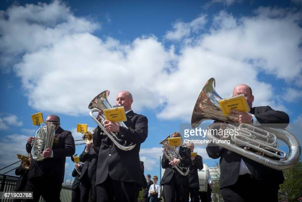The Mossley Brass Band take part in the Manchester St George's Day parade ton April 23 2017 in Manchester England Various parades have taken place...