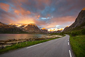 The Grotfjord road - the most beautiful road to drive through during the midnight sun in northern Norway
