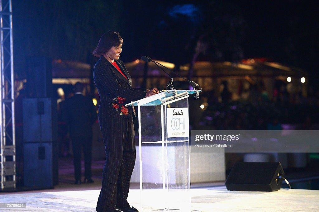 The Most Honorable Prime Minister Mrs. Portia Simpson-Miller welcomed guests to the Grand Opening of Sandals Ochi Beach Resort as the keynote speaker for the evening at Sandals Ochi Beach Resort on June 1, 2015 in Ocho Rios, Jamaica.
