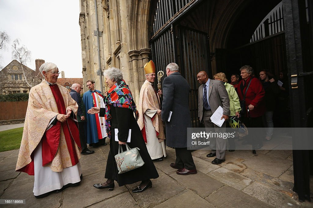 The Most Rev and Rt Hon Justin Welby (C), the Lord Archbishop of Canterbury, and The Very Reverend Robert Willis (L), the Dean of Canterbury, wish members of their congregation a happy Easter outside Canterbury Cathedral following the Easter Sunday service on March 31, 2013 in Canterbury, England. Justin Welby was enthroned on March 21, 2013 as the 105th Archbishop of Canterbury and head of the Church of England.