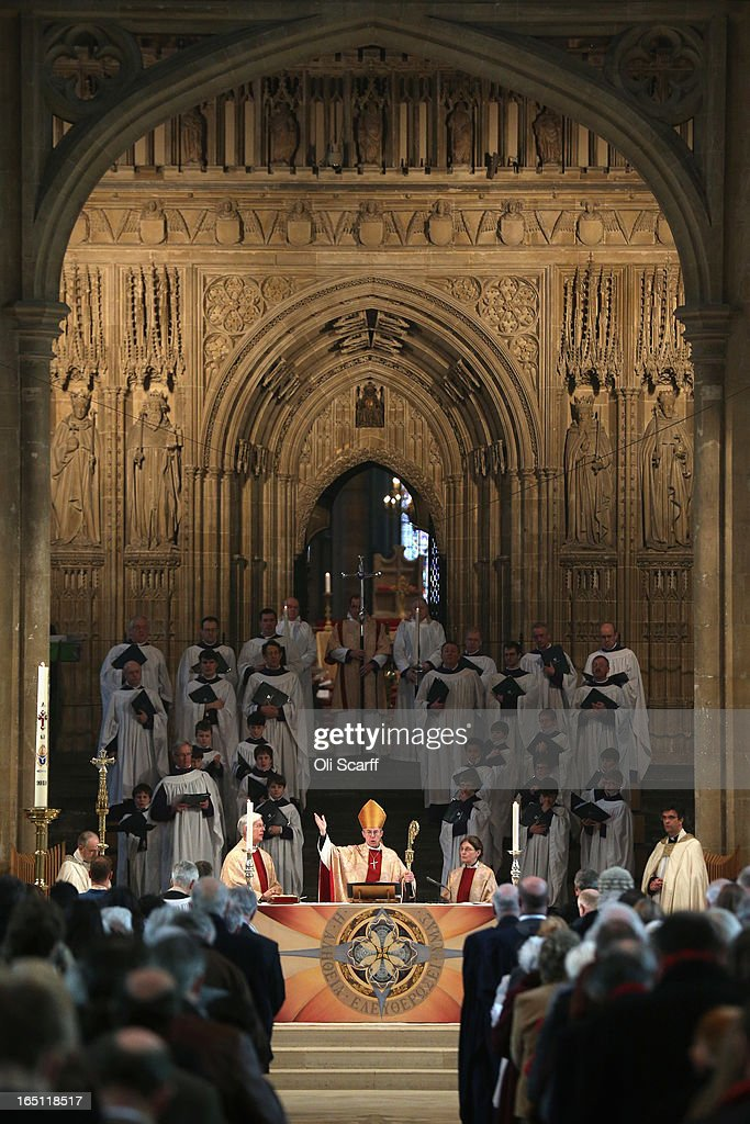 The Most Rev and Rt Hon <a gi-track='captionPersonalityLinkClicked' href=/galleries/search?phrase=Justin+Welby&family=editorial&specificpeople=9960447 ng-click='$event.stopPropagation()'>Justin Welby</a> (C), the Lord Archbishop of Canterbury, leads the Easter Sunday service at Canterbury Cathedral on March 31, 2013 in Canterbury, England. <a gi-track='captionPersonalityLinkClicked' href=/galleries/search?phrase=Justin+Welby&family=editorial&specificpeople=9960447 ng-click='$event.stopPropagation()'>Justin Welby</a> was enthroned on March 21, 2013 as the 105th Archbishop of Canterbury and head of the Church of England.