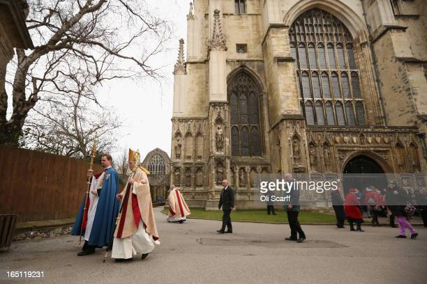 The Most Rev and Rt Hon Justin Welby the Lord Archbishop of Canterbury leaves Canterbury Cathedral following the Easter Sunday service on March 31...