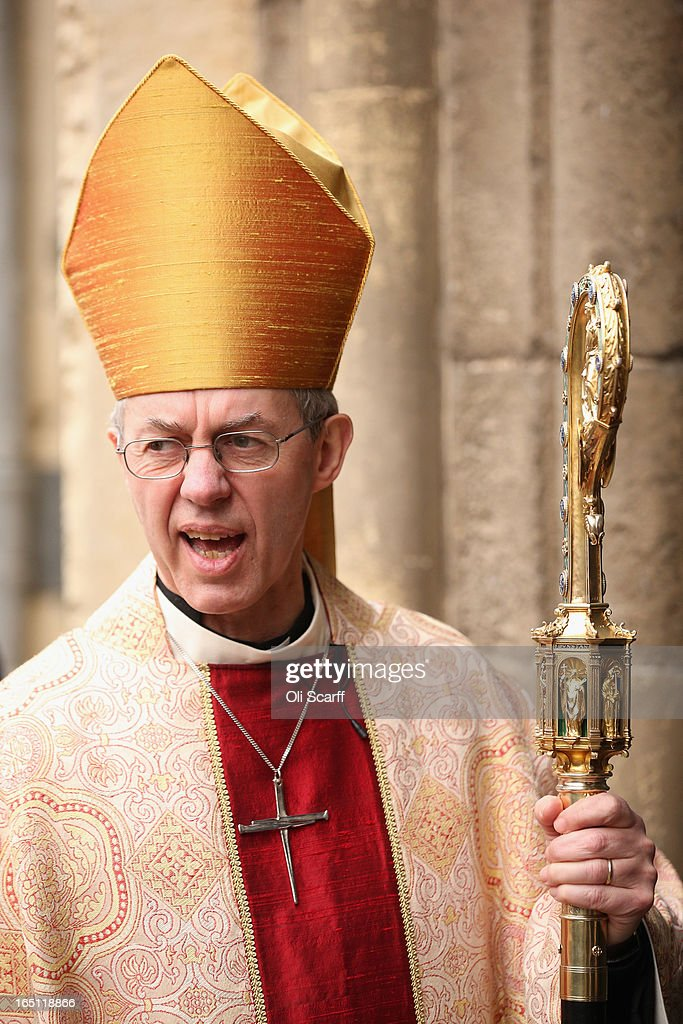The Most Rev and Rt Hon <a gi-track='captionPersonalityLinkClicked' href=/galleries/search?phrase=Justin+Welby&family=editorial&specificpeople=9960447 ng-click='$event.stopPropagation()'>Justin Welby</a>, the Lord Archbishop of Canterbury, speaks with members of his congregation outside Canterbury Cathedral following the Easter Sunday service on March 31, 2013 in Canterbury, England. <a gi-track='captionPersonalityLinkClicked' href=/galleries/search?phrase=Justin+Welby&family=editorial&specificpeople=9960447 ng-click='$event.stopPropagation()'>Justin Welby</a> was enthroned on March 21, 2013 as the 105th Archbishop of Canterbury and head of the Church of England.