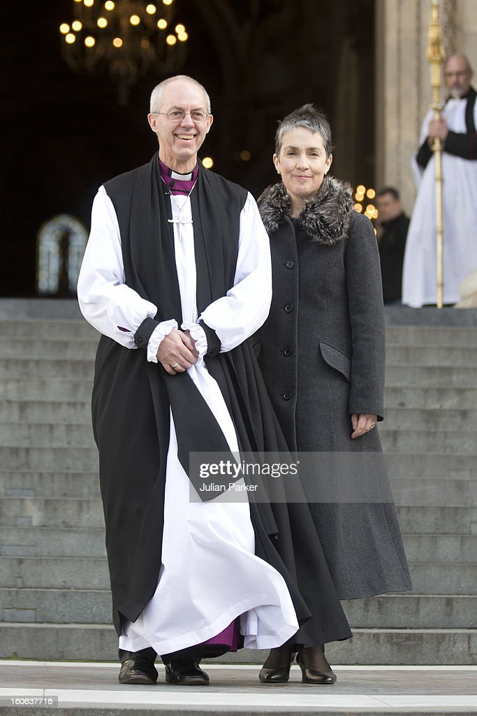 The Most Revd Justin Welby, and his wife Caroline, leave a public service at St Paul's Cathedral to confirm his election as The new Archbishop of Canterbury, on February 4, 2013 in London, England. The Bishop of Durham Justin Welby replaces Dr Rowan Williams and becomes the 105th Archbishop of Canterbury, with the office of Archbishop conferred on him in a ceremony known as the Confirmation of Election. His enthronement will take place in March at Canterbury Cathedral.
