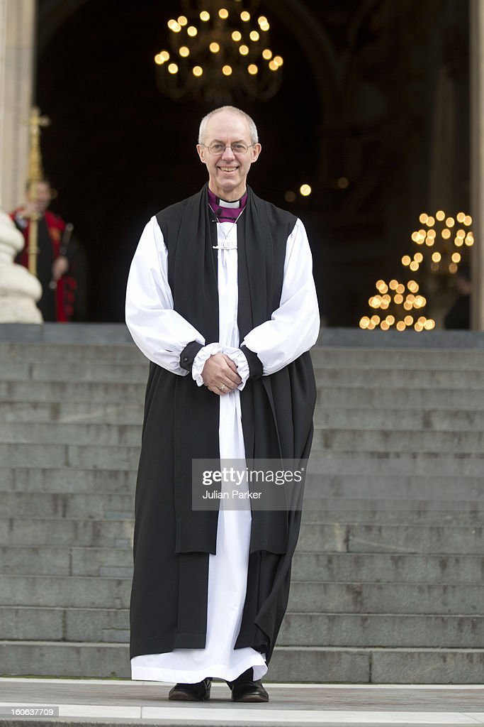 The Most Revd Justin Welby, leaves a public service at St Paul's Cathedral to confirm his election as The new Archbishop of Canterbury, on February 4, 2013 in London, England. The Bishop of Durham Justin Welby replaces Dr Rowan Williams and becomes the 105th Archbishop of Canterbury, with the office of Archbishop conferred on him in a ceremony known as the Confirmation of Election. His enthronement will take place in March at Canterbury Cathedral.