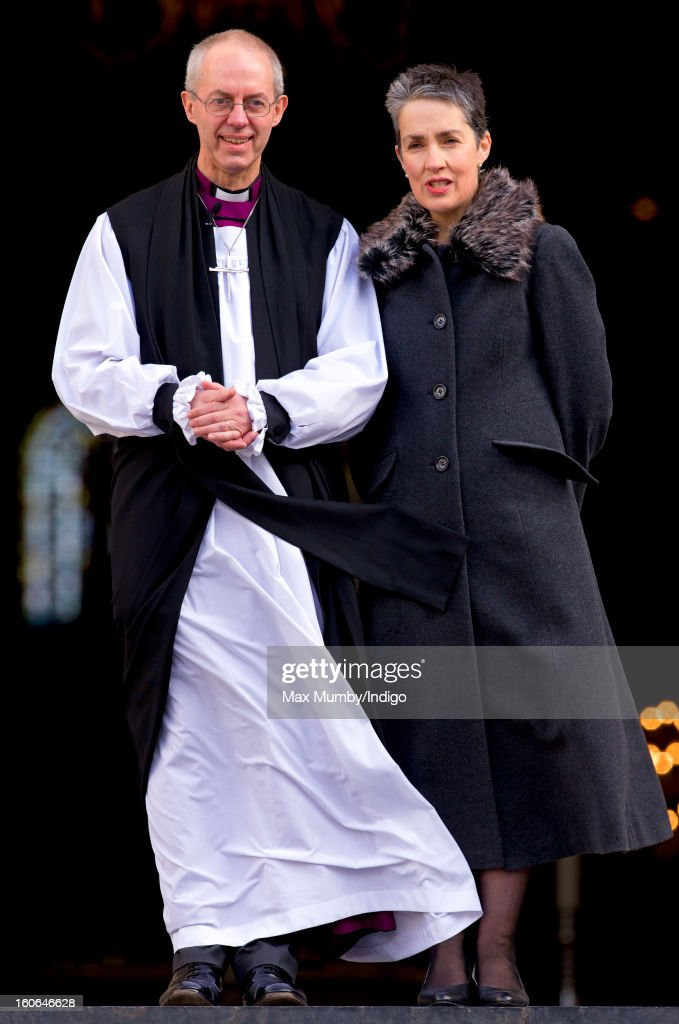 The Most Reverend <a gi-track='captionPersonalityLinkClicked' href=/galleries/search?phrase=Justin+Welby&family=editorial&specificpeople=9960447 ng-click='$event.stopPropagation()'>Justin Welby</a>, Archbishop of Canterbury and his wife Caroline Welby stand on the steps of St Paul's Cathedral after attending a service confirming him as the new Archbishop of Canterbury on February 04, 2013 in London, England. The Bishop of Durham <a gi-track='captionPersonalityLinkClicked' href=/galleries/search?phrase=Justin+Welby&family=editorial&specificpeople=9960447 ng-click='$event.stopPropagation()'>Justin Welby</a> replaces Dr Rowan Williams and becomes the 105th Archbishop of Canterbury, with the office of Archbishop conferred on him in a ceremony known as the Confirmation of Election. His enthronement will take place in March at Canterbury Cathedral.