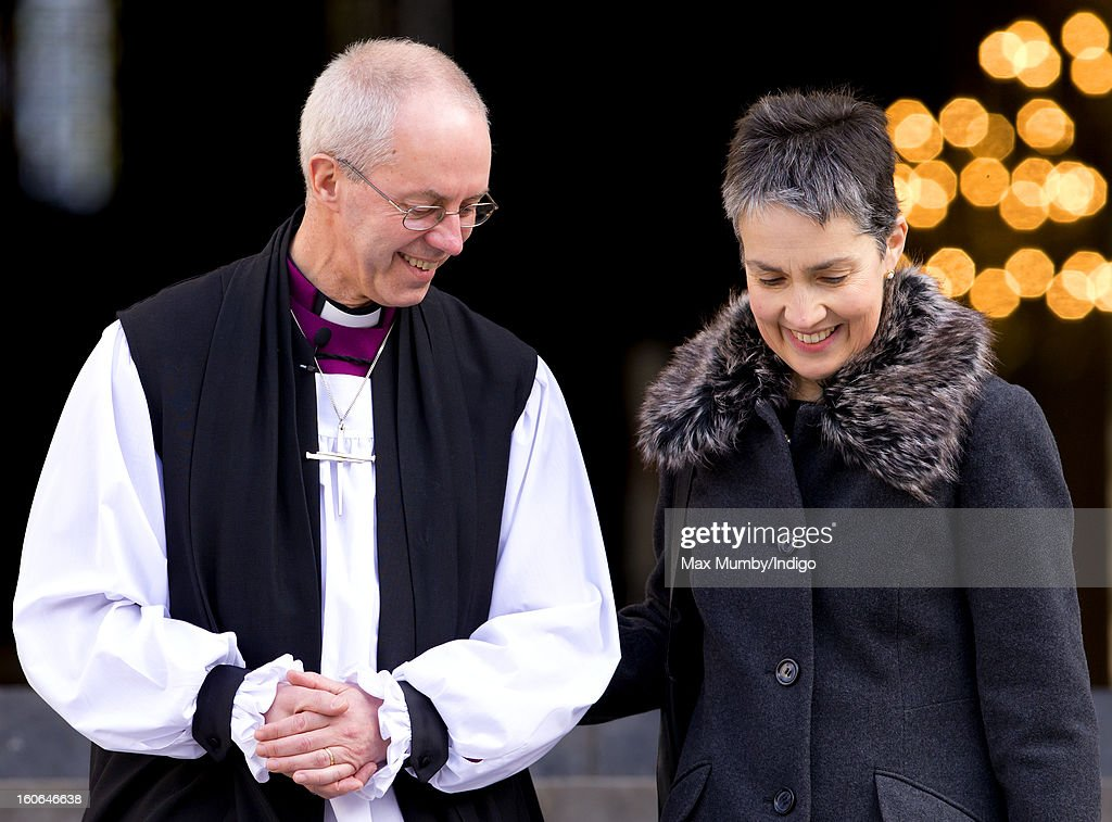 The Most Reverend Justin Welby Archbishop of Canterbury and his wife Caroline Welby stand on the steps of St Paul's Cathedral after attending a...