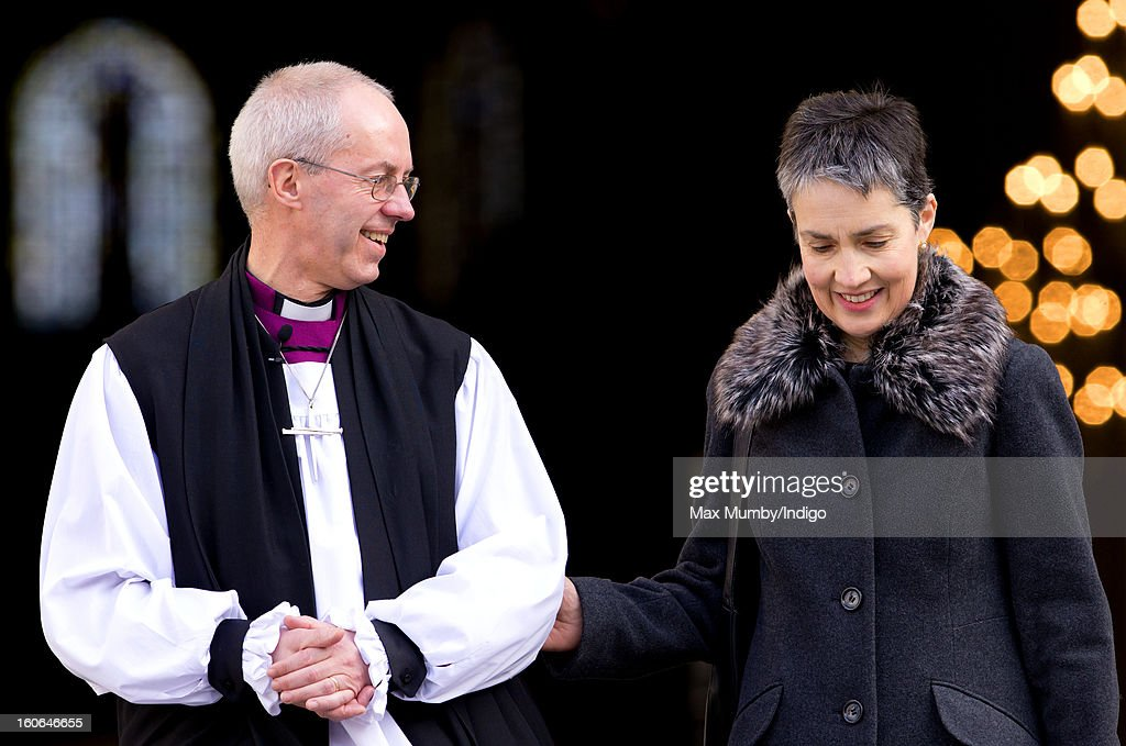 The Most Reverend Justin Welby, Archbishop of Canterbury and his wife Caroline Welby stand on the steps of St Paul's Cathedral after attending a service confirming him as the new Archbishop of Canterbury on February 04, 2013 in London, England. The Bishop of Durham Justin Welby replaces Dr Rowan Williams and becomes the 105th Archbishop of Canterbury, with the office of Archbishop conferred on him in a ceremony known as the Confirmation of Election. His enthronement will take place in March at Canterbury Cathedral.