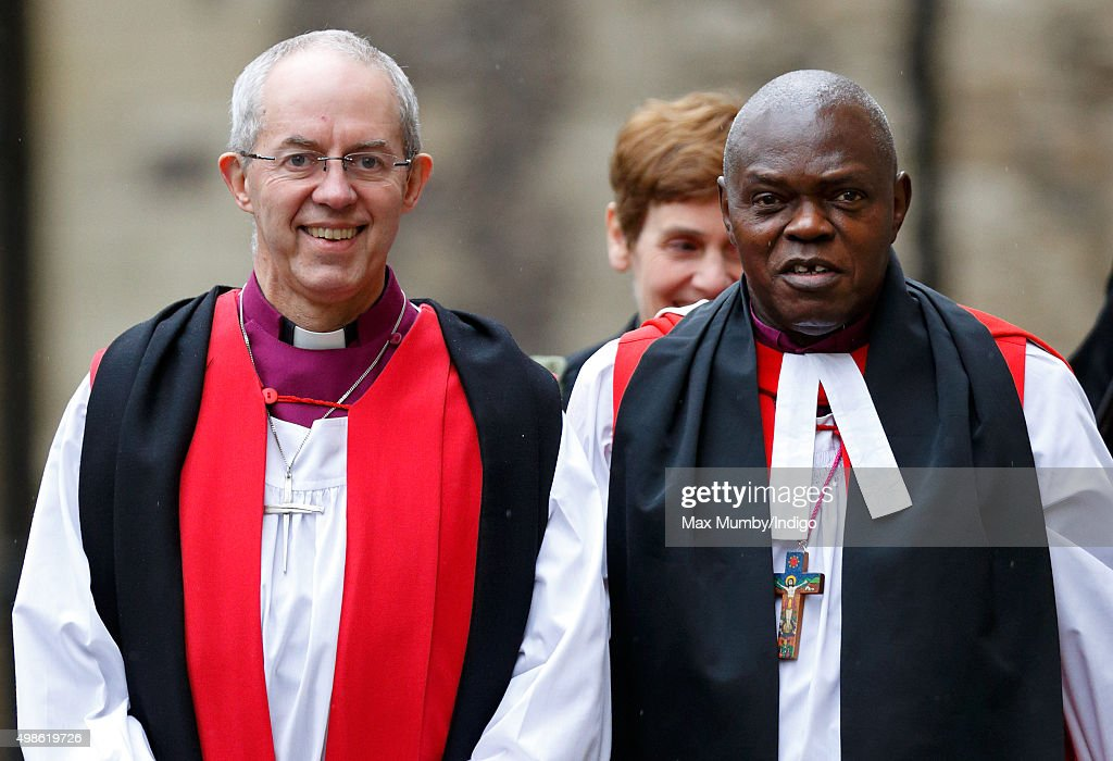 The Most Reverend <a gi-track='captionPersonalityLinkClicked' href=/galleries/search?phrase=Justin+Welby&family=editorial&specificpeople=9960447 ng-click='$event.stopPropagation()'>Justin Welby</a>, Archbishop of Canterbury and The Most Reverend Dr <a gi-track='captionPersonalityLinkClicked' href=/galleries/search?phrase=John+Sentamu&family=editorial&specificpeople=623109 ng-click='$event.stopPropagation()'>John Sentamu</a>, Archbishop of York attend the Inauguration of the Tenth General Synod of the Church of England at Church House on November 24, 2015 in London, England.