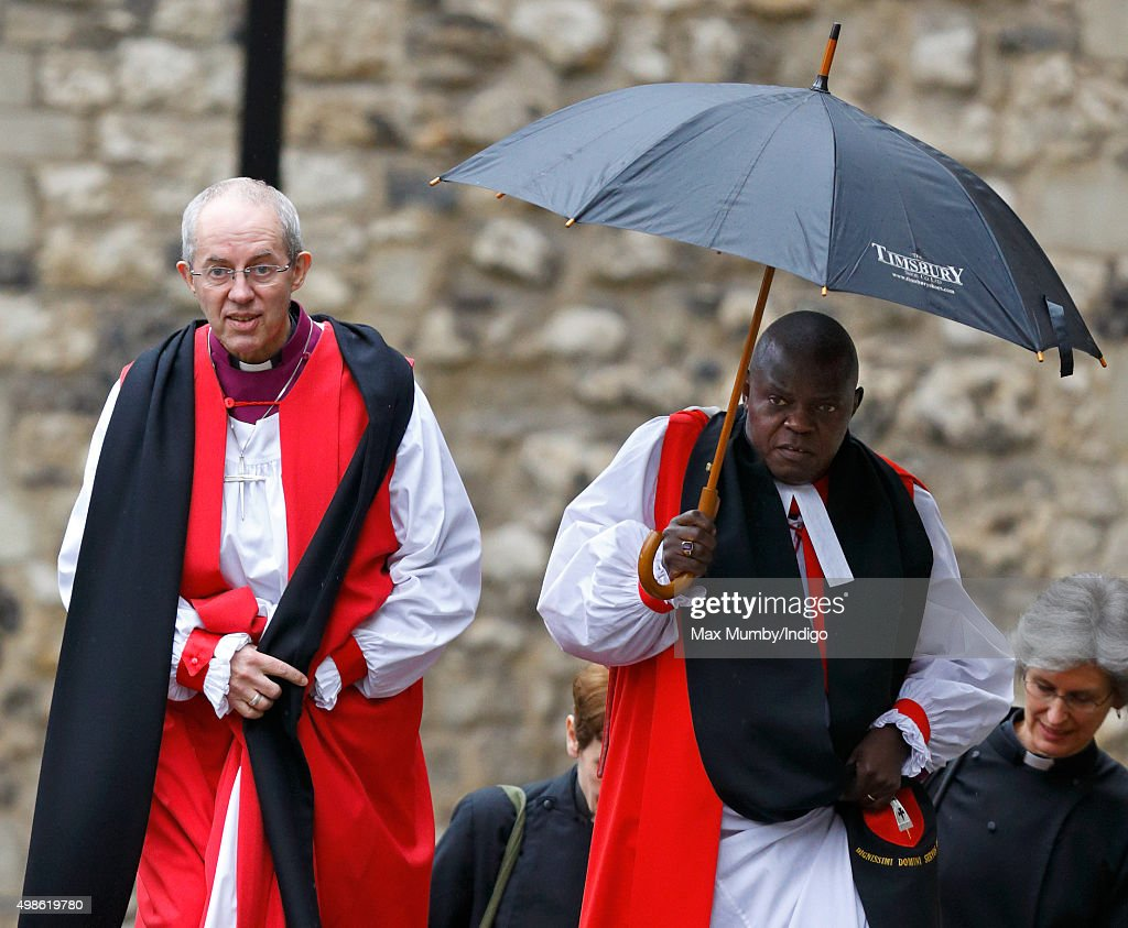 The Most Reverend Justin Welby, Archbishop of Canterbury and The Most Reverend Dr John Sentamu, Archbishop of York attend the Inauguration of the Tenth General Synod of the Church of England at Church House on November 24, 2015 in London, England.