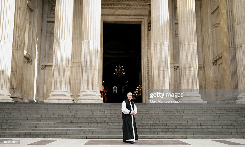 The Most Reverend Justin Welby, Archbishop of Canterbury stands on the steps of St Paul's Cathedral after attending a service confirming him as the new Archbishop of Canterbury on February 04, 2013 in London, England. The Bishop of Durham Justin Welby replaces Dr Rowan Williams and becomes the 105th Archbishop of Canterbury, with the office of Archbishop conferred on him in a ceremony known as the Confirmation of Election. His enthronement will take place in March at Canterbury Cathedral.
