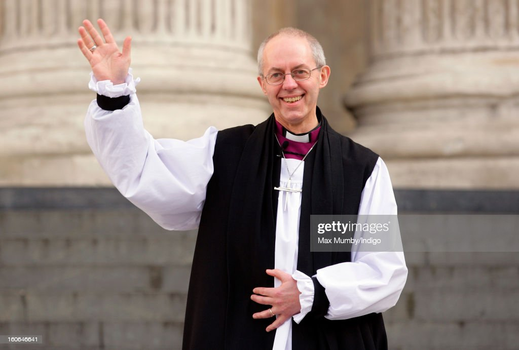 The Most Reverend <a gi-track='captionPersonalityLinkClicked' href=/galleries/search?phrase=Justin+Welby&family=editorial&specificpeople=9960447 ng-click='$event.stopPropagation()'>Justin Welby</a>, Archbishop of Canterbury waves as he stands on the steps of St Paul's Cathedral after attending a service confirming him as the new Archbishop of Canterbury on February 04, 2013 in London, England. The Bishop of Durham <a gi-track='captionPersonalityLinkClicked' href=/galleries/search?phrase=Justin+Welby&family=editorial&specificpeople=9960447 ng-click='$event.stopPropagation()'>Justin Welby</a> replaces Dr Rowan Williams and becomes the 105th Archbishop of Canterbury, with the office of Archbishop conferred on him in a ceremony known as the Confirmation of Election. His enthronement will take place in March at Canterbury Cathedral.