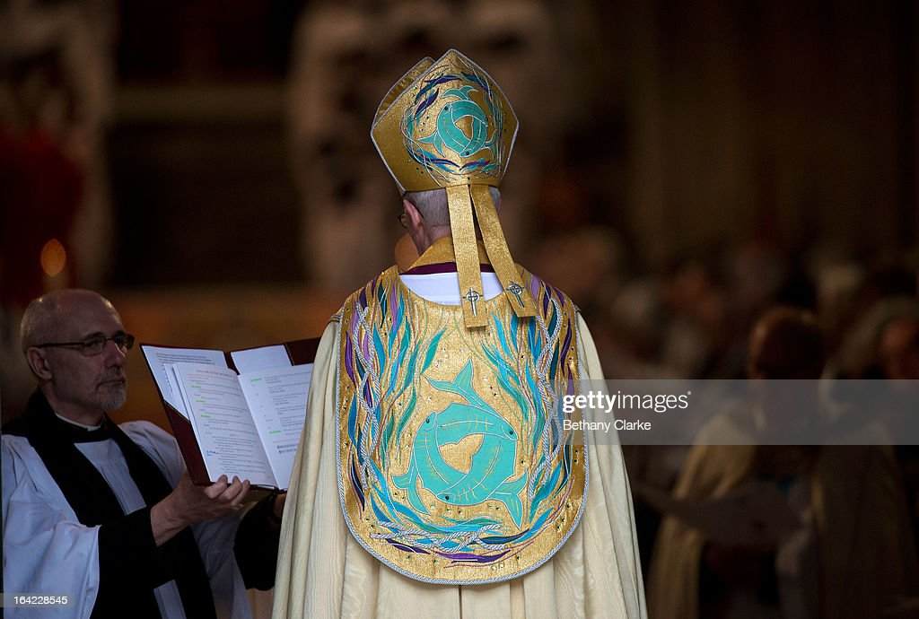 The Most Reverend <a gi-track='captionPersonalityLinkClicked' href=/galleries/search?phrase=Justin+Welby&family=editorial&specificpeople=9960447 ng-click='$event.stopPropagation()'>Justin Welby</a> arrives for his enthronement as Archbishop of Canterbury at Canterbury Cathedral on March 21, 2013 in Canterbury, England.The newly appointed Archbishop of Canterbury <a gi-track='captionPersonalityLinkClicked' href=/galleries/search?phrase=Justin+Welby&family=editorial&specificpeople=9960447 ng-click='$event.stopPropagation()'>Justin Welby</a> is enthroned today, installing him as the 105th Archbishop of Canterbury and head of the Church of England, in front of bishops and religious of the Anglican communion from around the world, the Prime Minister David Cameron, The Prince of Wales and other dignitaries.