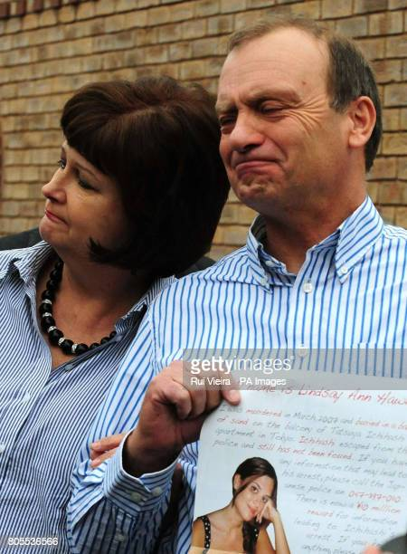 The mother and father of British teacher Lindsay Ann Hawker who was murdered in Japan Bill and Julia Hawker speak to the media outside their home in...
