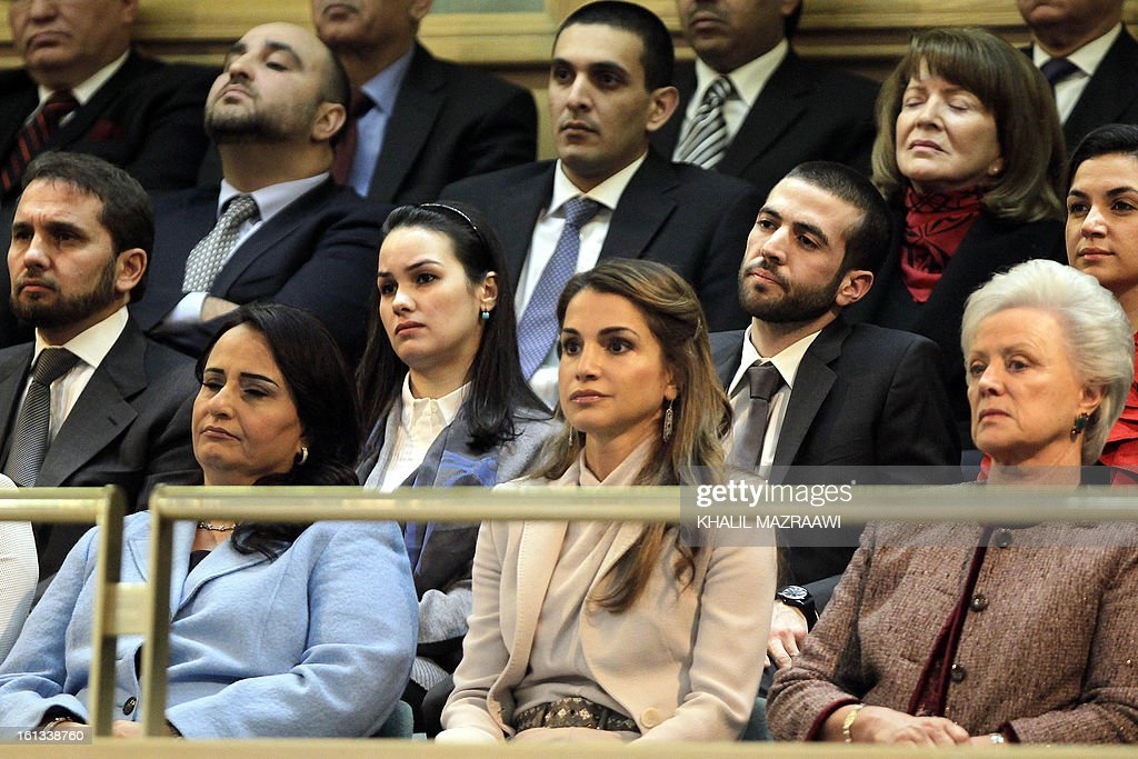 The mother of Jordan's King, Princess Muna al-Hussein (R), Jordanian Queen Rania (C) and the wife of Jordanian Prime Minister (L) attend the opening of the Jordanian parliament in Amman on February 10, 2013. King Abdullah II told newly elected members of parliament that he seeks to reach 'consensus' with them before naming a prime minister, and hailed the 'historic transformation' towards parliamentary government in Jordan. AFP PHOTO / KHALIL MAZRAAWI