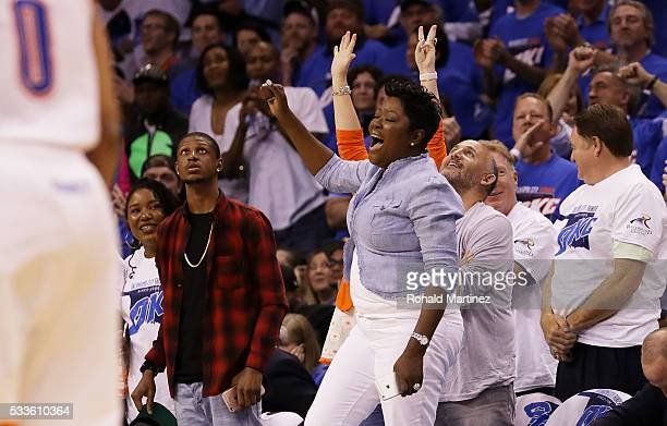 The mother of Kevin Durant of the Oklahoma City Thunder Wanda reacts in the second quarter against the Golden State Warriors in game three of the...