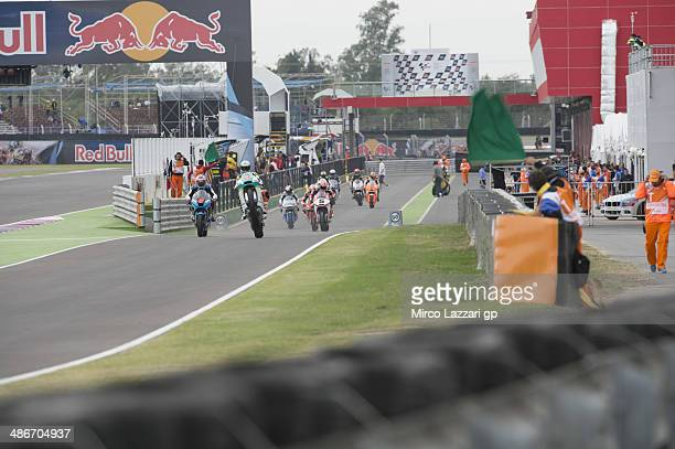 The Moto2 riders start from the box during the MotoGp of Argentina Free Practice at on April 25 2014 in Rio Hondo Argentina
