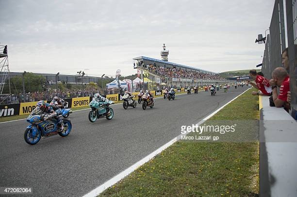 The Moto3 Riders start from the grid during the Moto3 race during the MotoGp of Spain Race at Circuito de Jerez on May 3 2015 in Jerez de la Frontera...