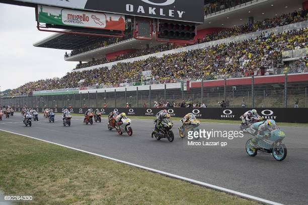 The Moto3 riders start from the grid during the Moto3 race during the MotoGp of Italy Race at Mugello Circuit on June 4 2017 in Scarperia Italy