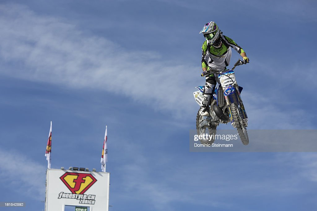 The motocross rider Jeremy Rouanet of France at the training run at freestyle.ch Zurich 2013 on September 22, 2013 in Zurich, Switzerland.