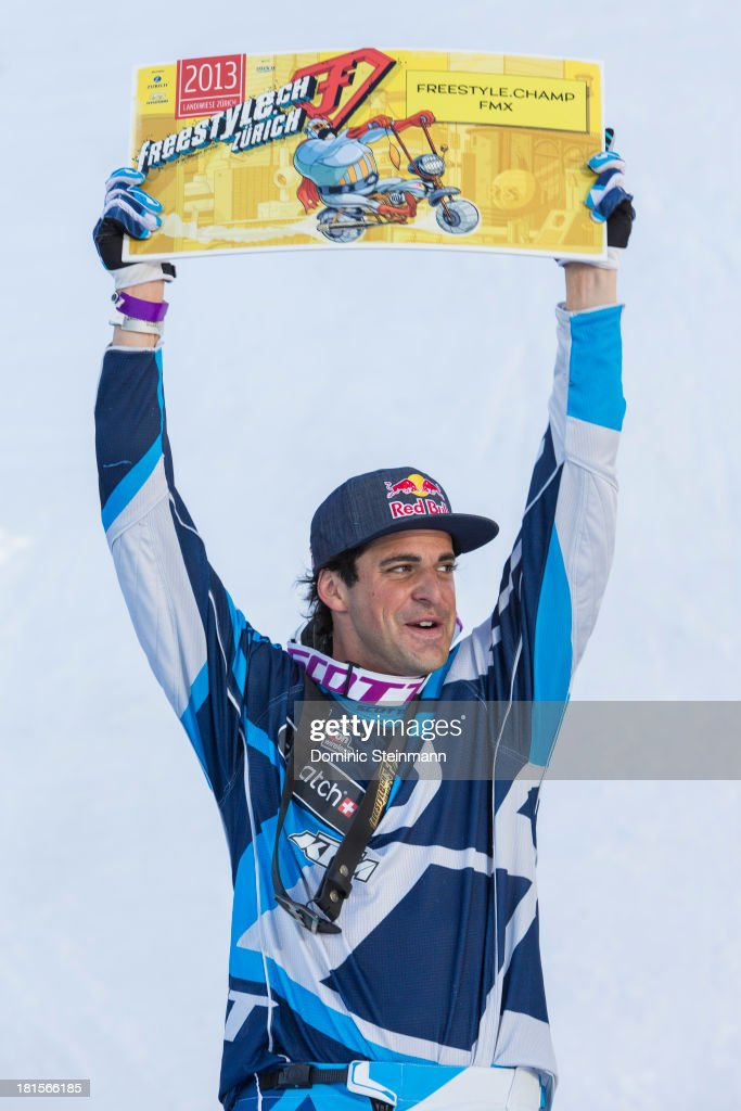 The motocross rider Mathieu Rebeaud (1st) of Switzerland on the podium at freestyle.ch Zurich on September 22, 2013 in Zurich, Switzerland.