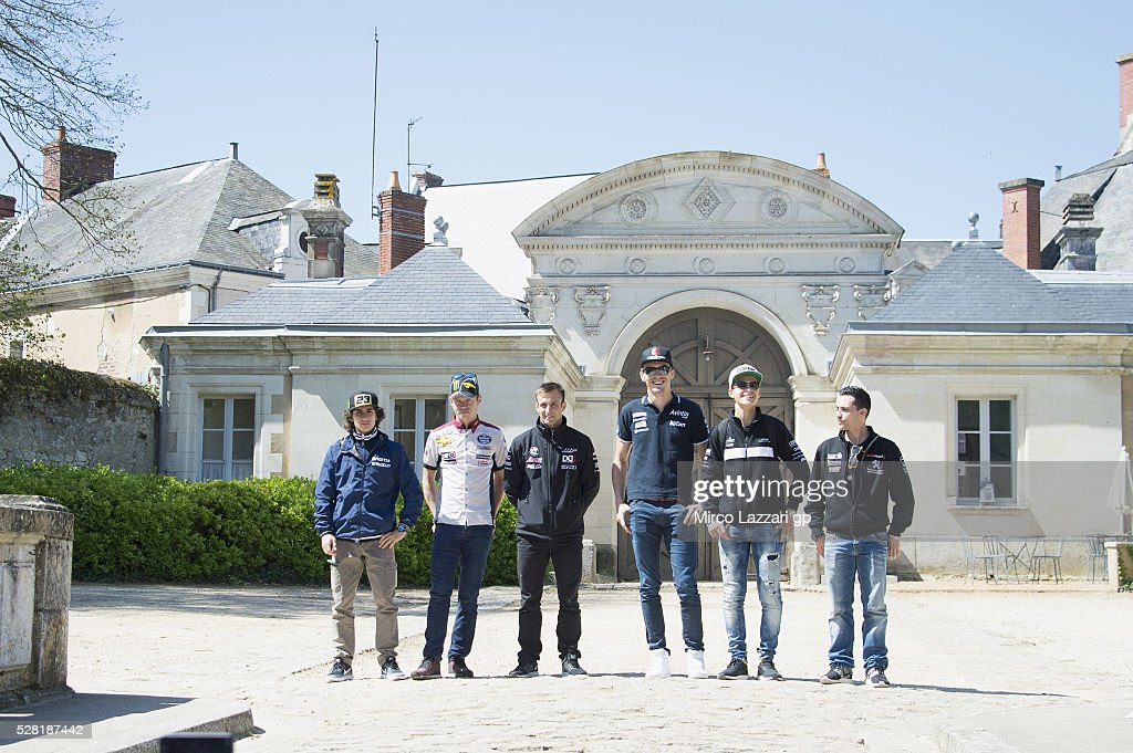 The MotoGP riders arrive at the chateau during a preview event at the Chateau du Lude ahead of the MotoGp of France, on May 4, 2016 in Paris, France.