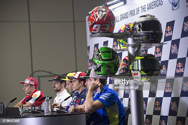 The MotoGP riders look on during the press conference preevent during the MotoGp Red Bull US Grand Prix of The Americas Previews at Circuit of The...