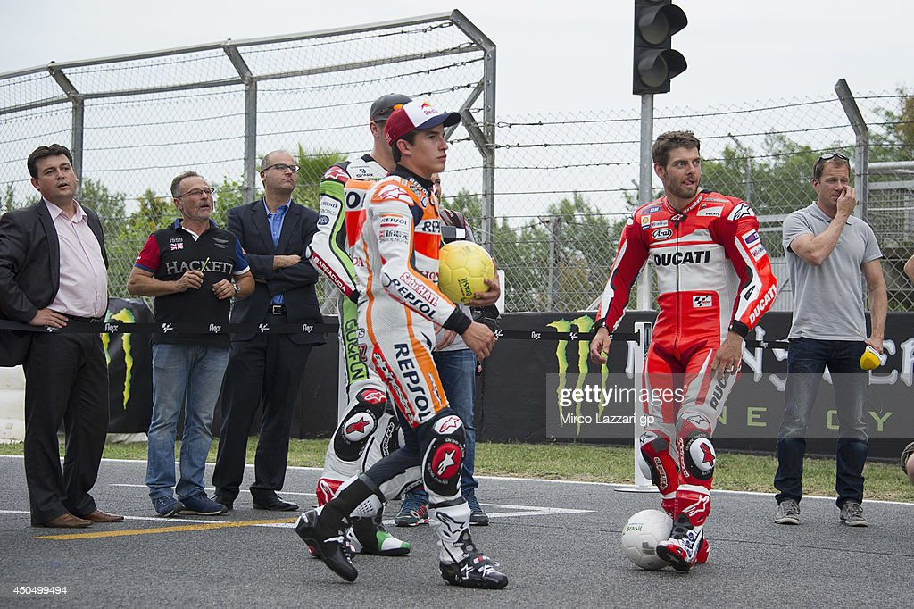 The MotoGP riders play during the event 'Launch of Alpinestars MotoGP World Cup Race Boot Design Series' on track during the MotoGp of Catalunya- Previews at Circuit de Catalunya on June 12, 2014 in Montmelo, Spain.