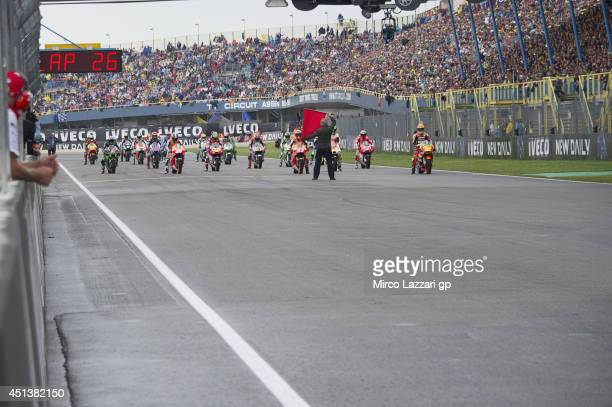 The MotoGP riders ready for start on the grid during the MotoGp race during the MotoGP of Netherlands Race at on June 28 2014 in Assen Netherlands
