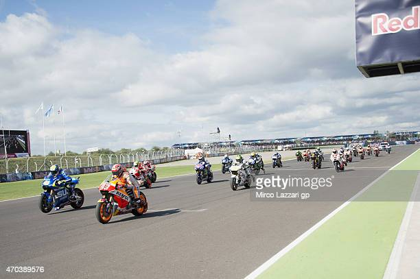 The MotoGP Riders start from the grid during the MotoGP race during the MotoGp of Argentina Race at on April 19 2015 in Rio Hondo Argentina