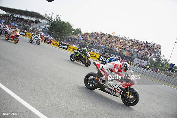 The MotoGP riders start from the grid during the MotoGP race during the MotoGp of Czech Republic Race at Brno Circuit on August 16 2015 in Brno Czech...