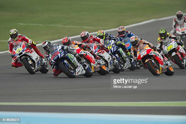 The MotoGP riders start from the grid during the MotoGP Race during the MotoGp of Argentina Race at Termas De Rio Hondo Circuit on April 03 2016 in...