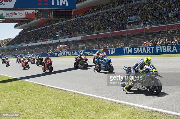 The MotoGP riders start from the grid during the MotoGP race during MotoGp of Italy Race at Mugello Circuit on May 22 2016 in Scarperia Italy