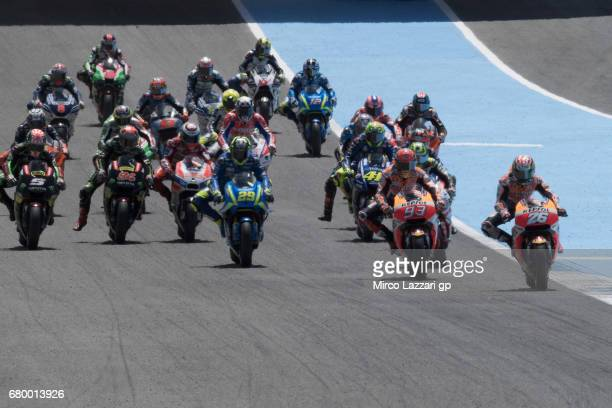 The MotoGP riders start from the grid during the MotoGP race during the MotoGp of Spain Race at Circuito de Jerez on May 7 2017 in Jerez de la...