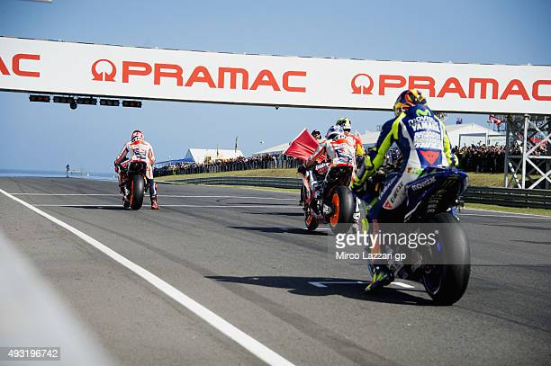 The MotoGP start from the grid during the MotoGP race during the MotoGP of Australia Race during the 2015 MotoGP of Australia at Phillip Island Grand...