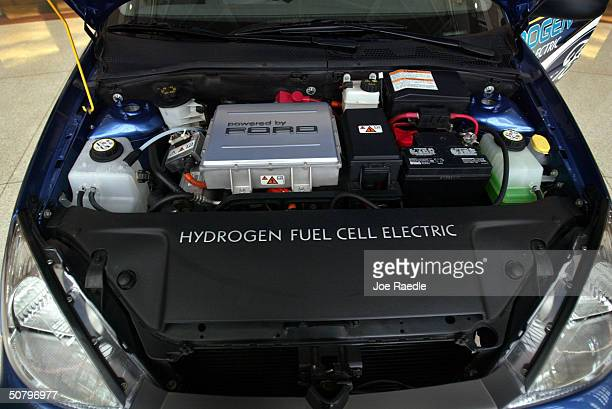 The motor in the Ford Focus hydrogen fuel cell electric car is seen at the 10th National Clean Cities Conference and Expo May 3 2004 in Fort...