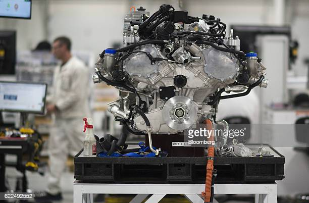 The motor of a Honda Motor Co 2017 Acura NSX vehicle stands on display at the Honda Performance Manufacturing Center in Marysville Ohio US on...