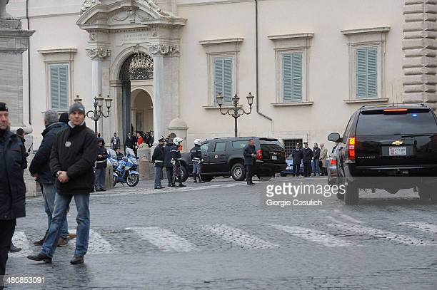 The motorcade carrying US President Barack Obama arrives at Palazzo del Quirinale for an official meeting with Italian President Giorgio Napolitano...